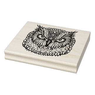 Style Eagle Owl Head Rubber Stamp