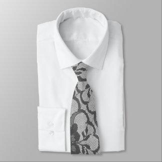 Style Elegant  Royal Silver Gray White Lace Tie