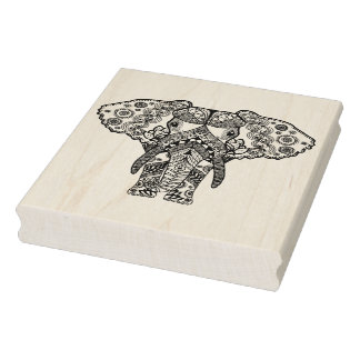Style Elephant Rubber Stamp