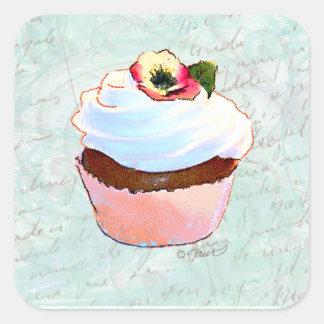 Style victorien de petit gâteau rose français de autocollants carrés