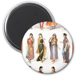 Styles_of_Sari vintage print 2 Inch Round Magnet