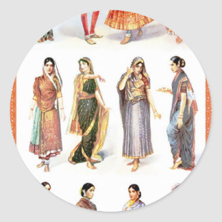 Styles_of_Sari vintage print Round Sticker
