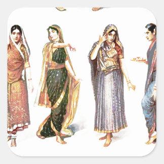 Styles_of_Sari vintage print Square Sticker