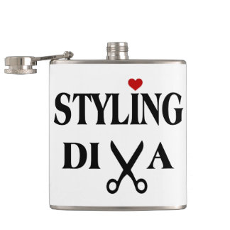 Styling Diva Scissors and Heart Stylist Hip Flask