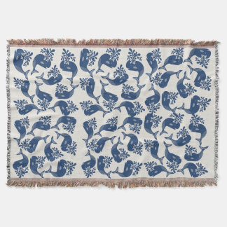Stylised Blue Whales Throw Blanket