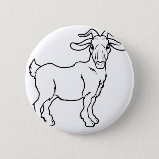 Stylised goat illustration 2 inch round button