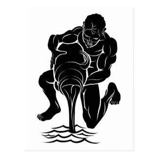 Stylised water bearer illustration post cards