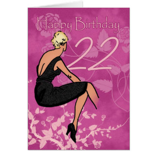 Stylish 22nd Birthday Card - Modern Female In Blac