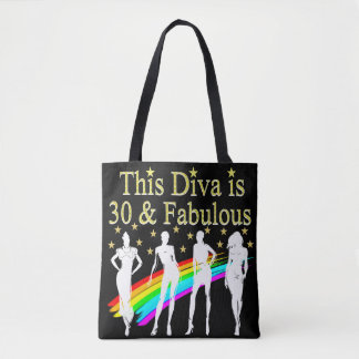 STYLISH 30 AND FABULOUS 30TH BIRTHDAY DESIGN TOTE BAG