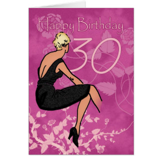 Stylish 30th Birthday Card - Modern Female In Blac
