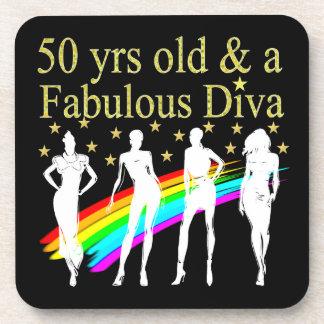 STYLISH 50 AND FABULOUS 50TH BIRTHDAY DESIGN BEVERAGE COASTER