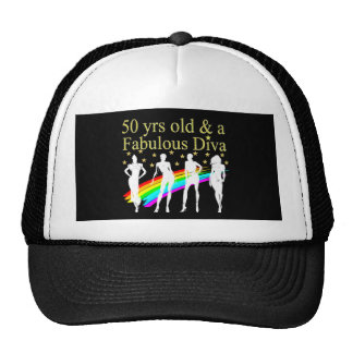STYLISH 50 AND FABULOUS 50TH BIRTHDAY DESIGN TRUCKER HAT