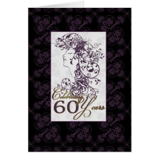 stylish 60th birthday card purple and black