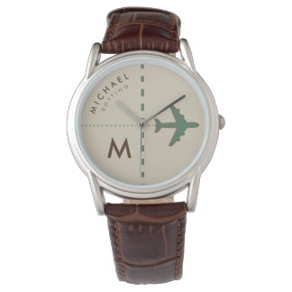 stylish airplane with initial & name of the pilot wrist watch