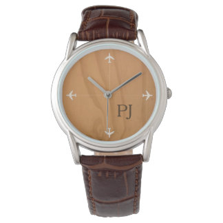 stylish airplanes with initials, brown watch