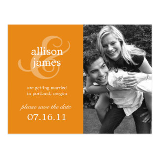 Stylish Ampersand Save The Date Postcard (Orange)