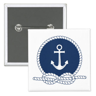 Stylish Anchor And Rope 2 Inch Square Button