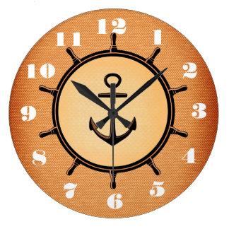 Stylish and Beautiful Anchor and Wheel Nautical Wallclocks