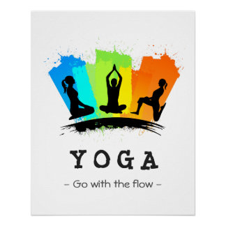 Stylish and Colorful Pilates YOGA Exercise Perfect Poster