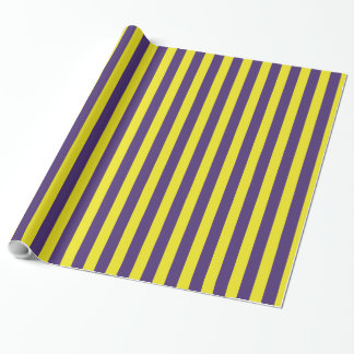 Stylish and cool Yellow and Purple Stripes Pattern Wrapping Paper