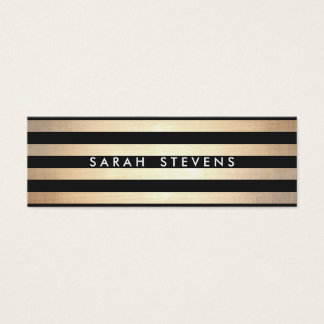 Stylish and Gold Thin Black Striped Modern Mini Business Card