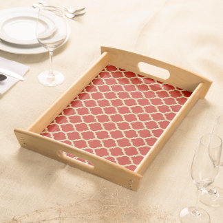 Stylish and Luxurious Red Lattice Pattern Serving Tray
