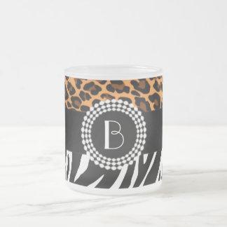 Stylish Animal Prints Zebra and Leopard Patterns Frosted Glass Coffee Mug