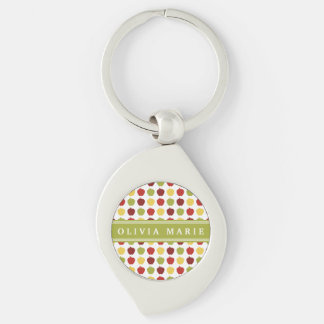 Stylish Apple Pattern with Personalized Name Keychain