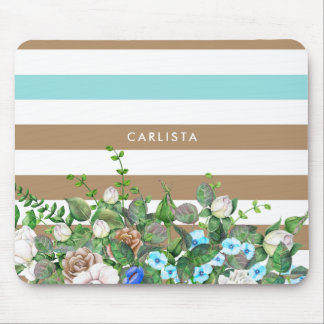 Stylish Aqua and Tan Floral and Stripes With Name Mouse Pad