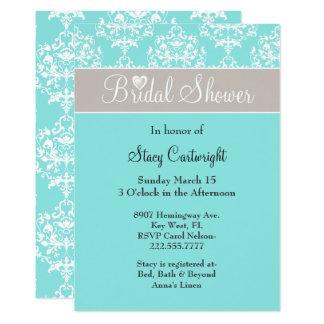 Stylish Aqua and Taupe Bridal Shower Invitation