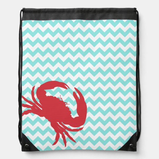 Stylish Aqua Chevron and Crab Drawstring Backpack