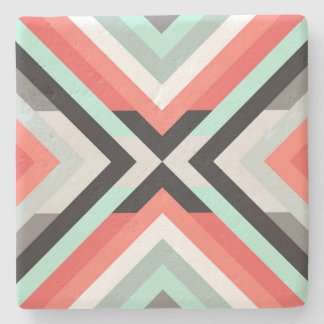 Stylish Aqua Coral Color Block Decorative Design Stone Coaster