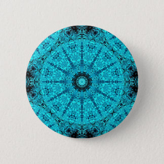 Stylish aqua mandala 2 inch round button