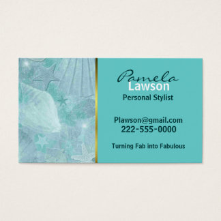 Stylish Aqua Sea Shell Business Card