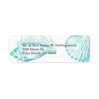 Stylish Aqua Seashells Return Address Label