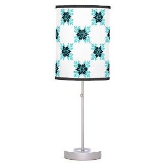 Stylish Aqua Teal and Black Floral Pattern Table Lamp