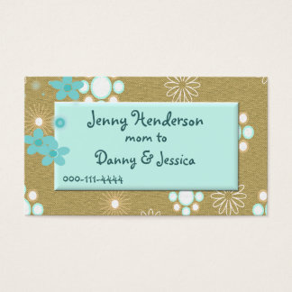 Stylish Aquamarine and Tan Mommy calling card