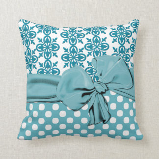 Stylish Aquamarine and White Damask Pillow