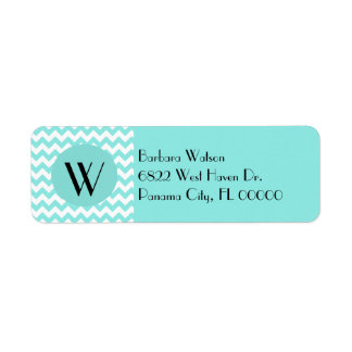 Stylish Aquamarine Chevron & Monogram Return Address Label