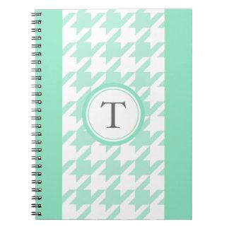 stylish aquamarine houndstooth with monogram notebook