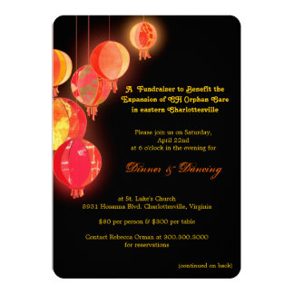 "Stylish Asian Themed Fundraising Event 5"" X 7"" Invitation Card"