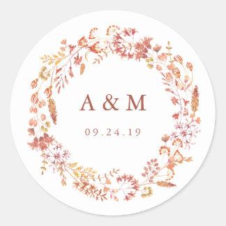 Stylish Autumn Botanicals Wedding Monogram Round Sticker