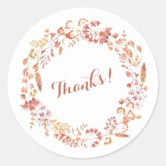 Stylish Autumn Botanicals Wedding Thanks Round Sticker