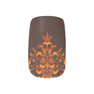 Stylish autumn damask minx nail art