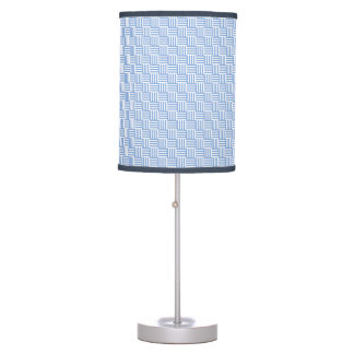 Stylish Azure Blue Basket Weave Pattern Table Lamp