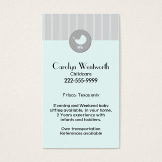 Stylish Babysitter Business Card