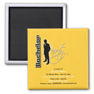 "Stylish ""bachelor party"" stag formal fridge magnet"