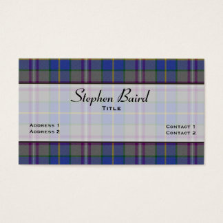 Stylish Baird Tartan Plaid Custom Business Card