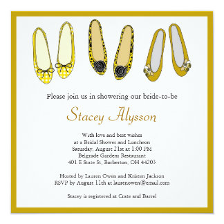 Stylish Ballet Flat Shoes Bridal Shower Invitation