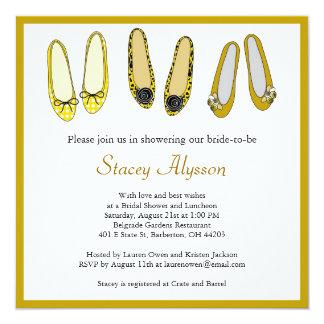 Stylish Ballet Flat Shoes Bridal Shower Invitation
